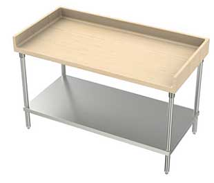 "AERO Maple Top Work Table with Backslash / Galvanized legs / Undershelf Work Table 1-3/4"" - MTGB-3672"