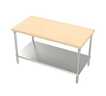 "AERO Maple Top / Stainless Steel Work Table 1-3/4"" - MTS-3696"