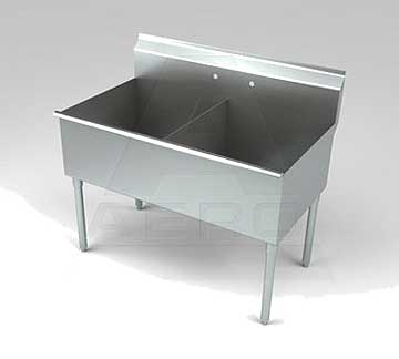 Aero Stainless Steel Two Compartment Sink, 30 x 42 Bowls, Non-NSF