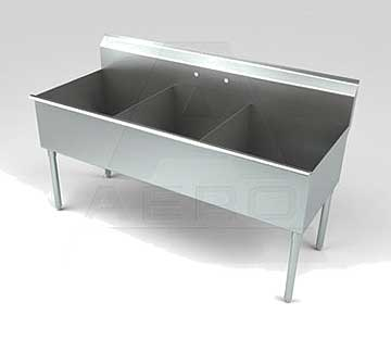 Aero Stainless Steel Three Compartment Sink, 24 x 12 Bowls, Non-NSF