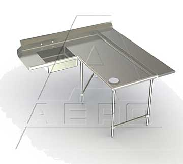 Aero Dishtables with Soiled Island Design, Sink, Landing Shelf Right or Left