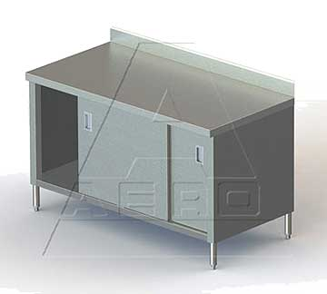 AERO Mfg. DeluxeWork Table cabinet base with sliding doors - 3TSBOD-2496