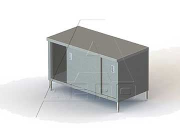 Aero SS Tables with Cabinet Base / Sliding Doors