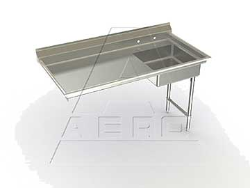 Aero Delux Undercounter Soiled Dishtable 48 Inch Right to Left