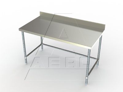 Aero Deluxe Work Tables with Crossbracing and 4 Inch Backsplash