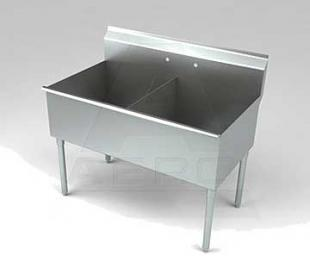 Aero Stainless Steel Two Compartment Sink, 18 x 18 Bowls, Non-NSF