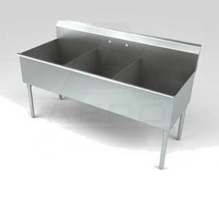 Aero Stainless Steel Three Compartment Sink, 18 x 12 Bowls, Non-NSF