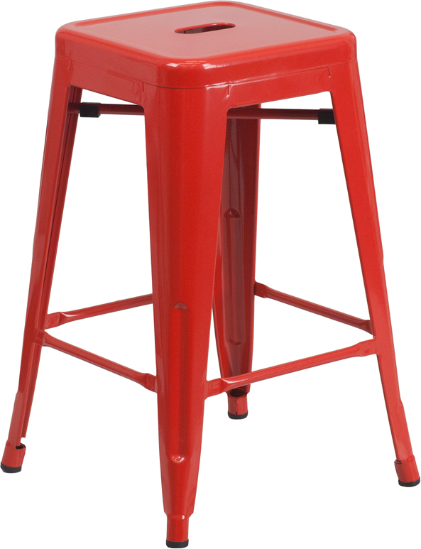 Metal Cafe Short / Counter Barstools in Colors - 24 Inch Backless