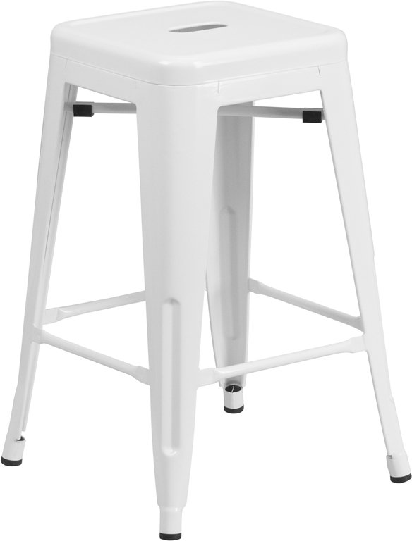 Metal Counter Height Colored Indoor Outdoor Cafe Barstools Backless