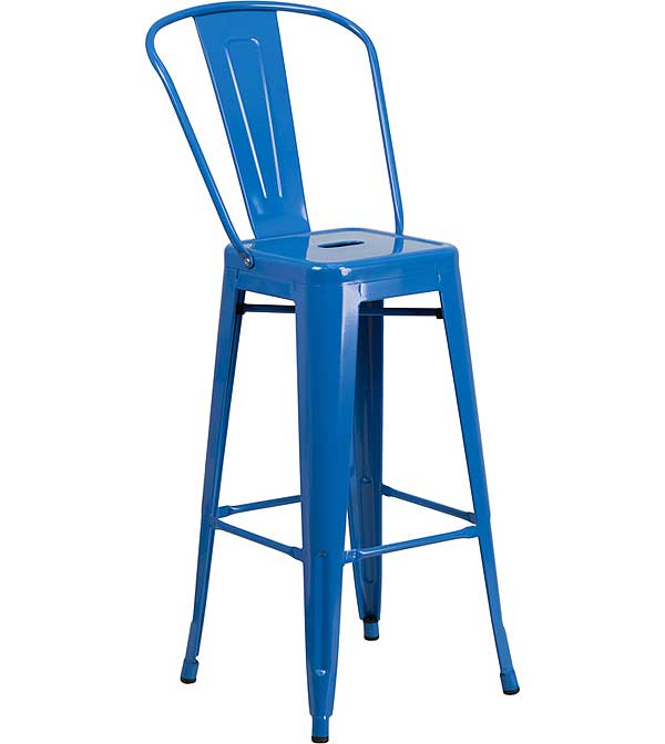 Metal Cafe Barstool Blue - 30 Inch With Back - CH-31320-30GB-BL-GG