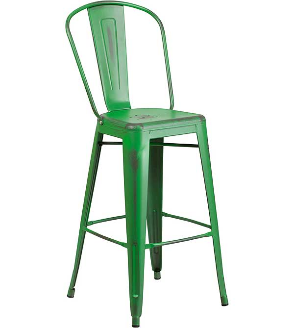 Metal Cafe Barstools in Weathered Colors with Backs