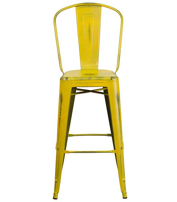 Metal Cafe Barstool Distressed Yellow 30 Inch With Back