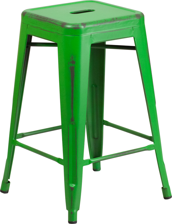 Metal Cafe Short / Counter Weathered Barstools - 24 Inch Backless