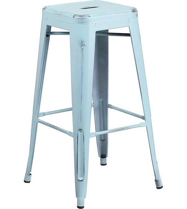 Metal Cafe Barstools with Weathered Colors  - Backless