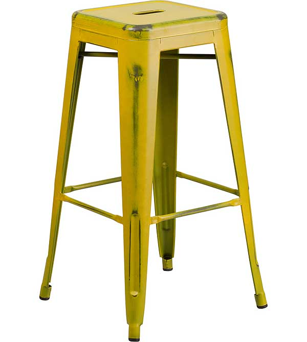 Metal Cafe Barstool Distressed Yellow 30 Inch Backless