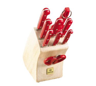 Mundial 10 Piece Knife Block Set with Red Handles