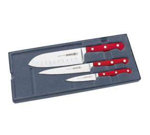 Starter Set with Red Handles and Santuko Knife