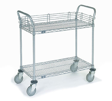 Wire Utility Shelf | Nexel Shelving Utility Carts With Two Wire Shelves
