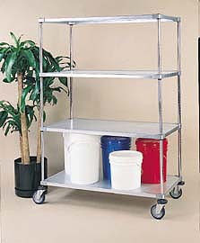 Nexel Shelving Stem Caster Truck 4 solid shelves - C1860RZ4