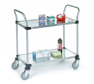Nexel Shelving Utility Cart with Two Solid Shelves