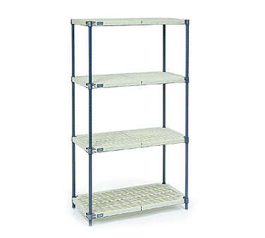 Nexel Shelving Nexelite Shelving Unit Assembly 4 tan polymer shelves with diagonal slots - PM24427N