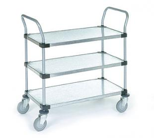 Nexel Shelving Utility Cart three solid shelves - 2448P3SS