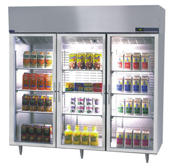 Nor-Lake Nova Pass-Thru Refrigerator Three-Section hinged full glass doors one side - PR806SSG/0X