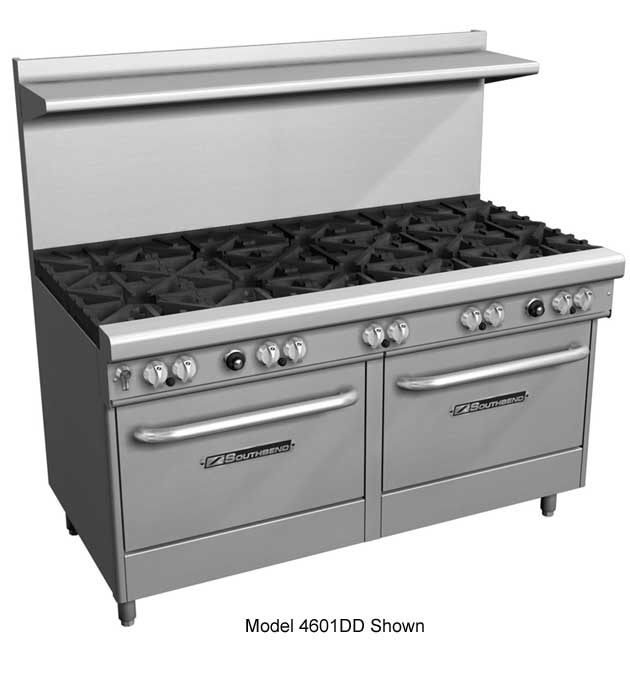 "Southbend 400 Series Ultimate Restaurant Range 60"" 4 Burner raised griddle/broiler 2 Standard Ovens - 4607DD-2RR"