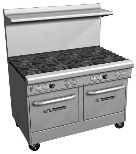 "Southbend 400 Series Ultimate Restaurant Range 48"" 4 Burner 24"" Griddle 2 Space Saver Ovens - 4482EE-2GL"
