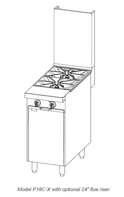 Southbend 18 in. Heavy Duty Range 2 Burner Modular Base - P18C-X