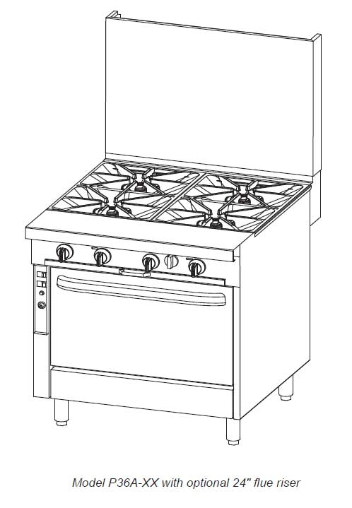 Southbend Platinum 36 in. Heavy Duty Restaurant Range 4 Burners - P36N-XX