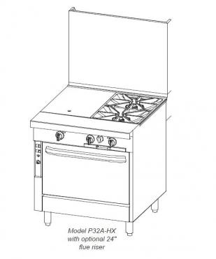 Southbend 32 in. Heavy Duty Range 2 Burner/Charbroiler - P32A-XC