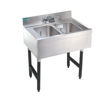 "Supreme Metal Slimline Sink Unit two sink 36"" long 9"" left  - #SLB-32R"