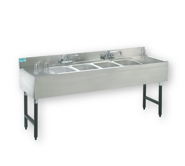 "Supreme Metal Slimline Sink Unit four sink 48"" long 4"" splash  - #SLB-44C"