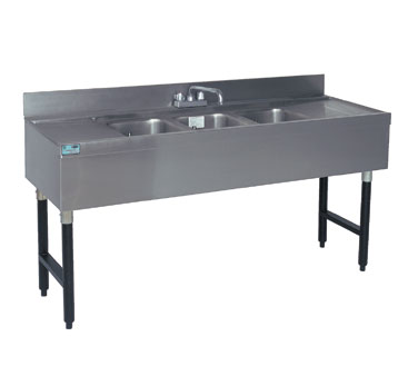 "Supreme Metal Slimline Sink Unit three sink 96"" long with 30"" right & left  - #SLB-83C"