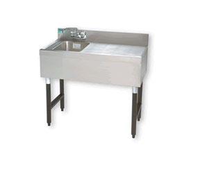 "Supreme Metal Slimline Sink Unit one sink 36"" long 12"" right & left  - #SLB-31C"