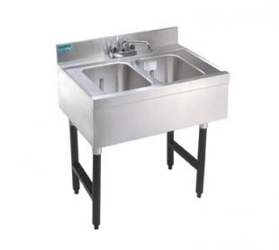"Supreme Metal Challenger Underbar Sink two sink 24"" long 10"" deep  - CRB-22C"