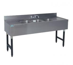 "Supreme Metal Challenger Underbar Sink three sink 60"" long 12"" right & left  - #CRB-53C"