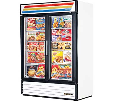 True Glass Door Freezer GDM-49F-LD, White with LED Lighting