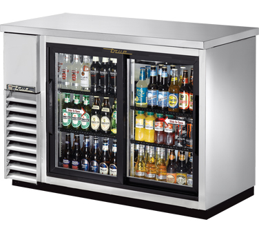 "TRUE Back Bar Cooler, 24""D, 2-Section 35-7/8"" H - TBB-24-48G-SD-S-HC-LD"