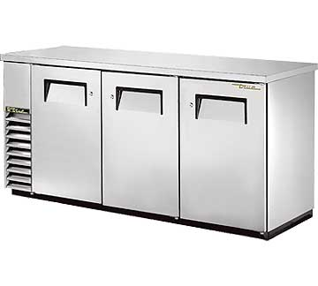 "TRUE Back Bar Cooler, 24""D,  3-section 35-5/8"" H - TBB-24-72-S-HC"