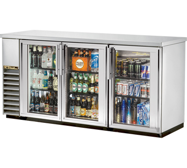 "TRUE Back Bar Cooler, 24""D, 3-Section 35-5/8"" H - TBB-24-72G-S-HC-LD"