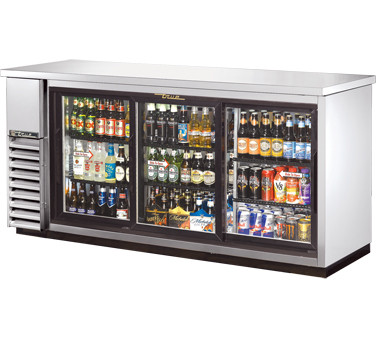 "TRUE Back Bar Cooler, 24""D, 3-Section 35-5/8"" H - TBB-24-72G-SD-S-HC-LD"