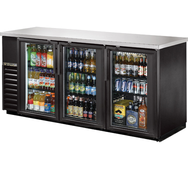 "TRUE Back Bar Cooler, 24""D, 3-Section 35-5/8"" H - TBB-24-72G-HC-LD"