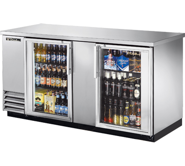 TRUE Back Bar Cooler, 2-section, Glass Doors, 112 Six-Pack Capacity