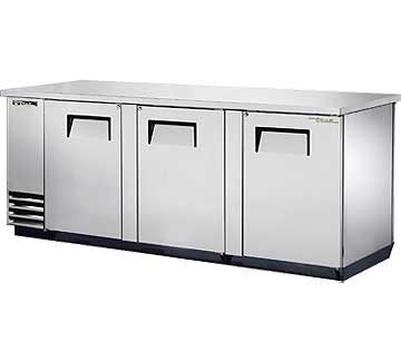 TRUE Back Bar Cooler, 3-Section, Pass-Thru, Stainless Steel, 152 Six-Pack Capacity - TBB-4PT-S