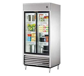 TRUE 2-Section Sliding Glass Door Refrigerator, 33 Cu. Ft. - TSD-33G-HC-LD
