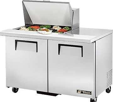 TRUE Mega Top Sandwich Prep Table 12 Cu. Ft.  - TSSU-48-12M-B-HC