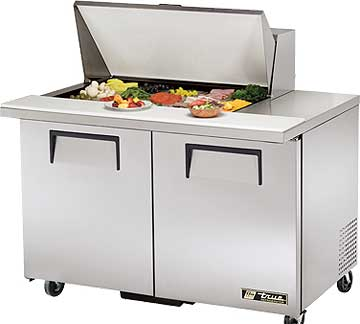 TRUE Mega Top Sandwich Prep Table 12 Cu. Ft. - TSSU-48-15M-B-HC