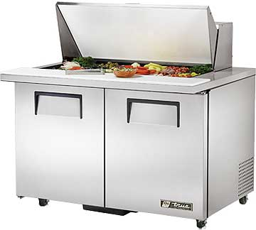 TRUE Mega Top Sandwich Prep Table 12 Cubic Ft. - TSSU-48-18M-B-ADA-HC